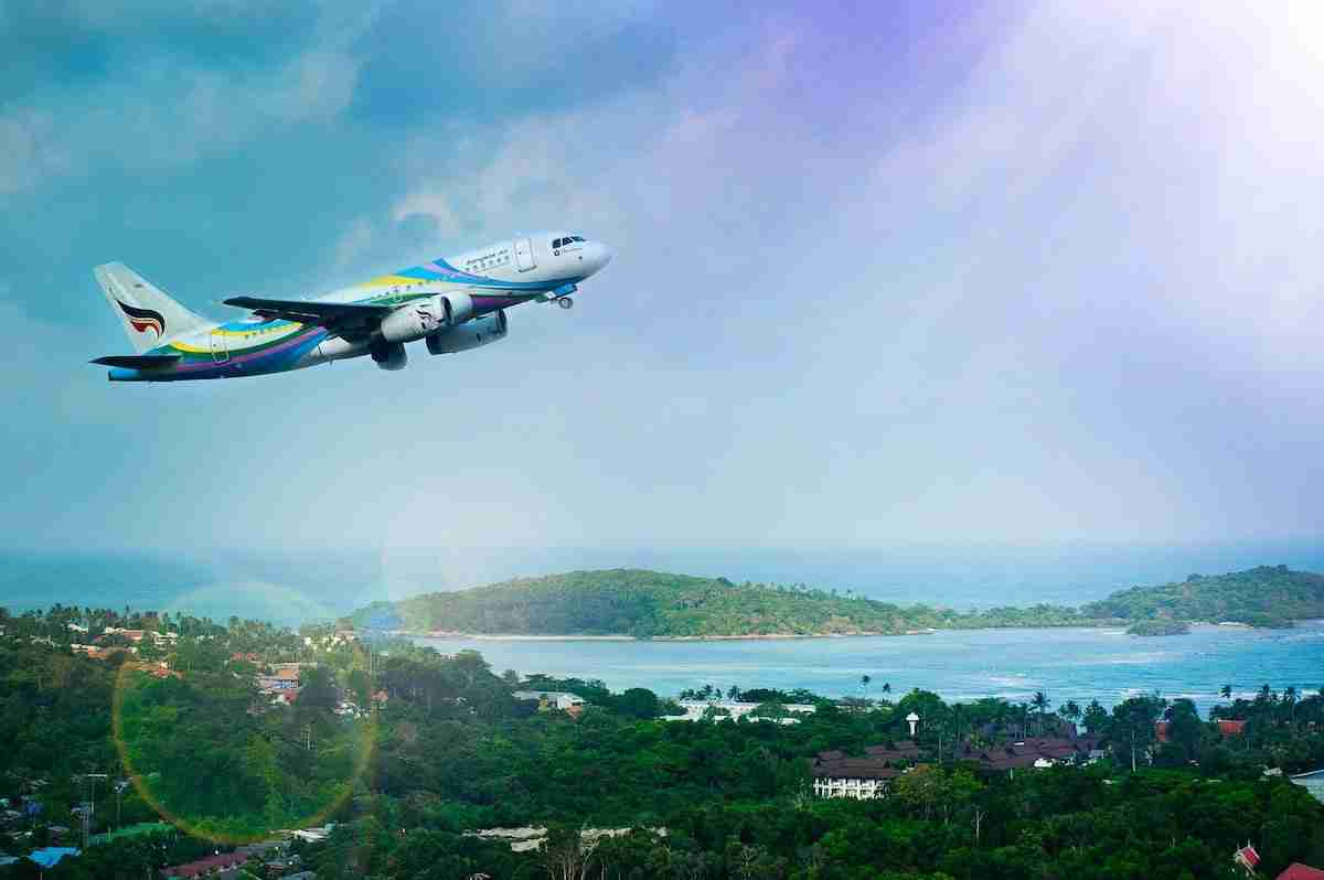 A Bangkok Airways jet takes off from Koh Samui Airport. The head of the Tourism Authority of Thailand said a plan is being studied to allow foreign tourists to only visit places like Samui on long-stay holidays so they could be virtually quarantined.