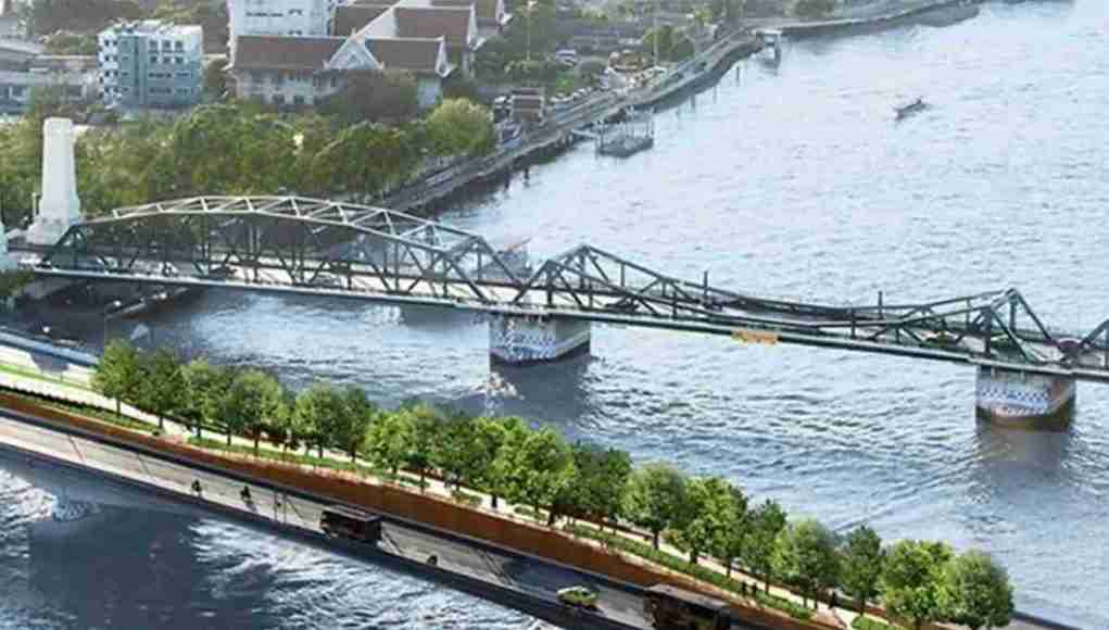 The Sky Park Bridge creates green walkways on an abandoned train path over a road bridge, linking two riverside parks.