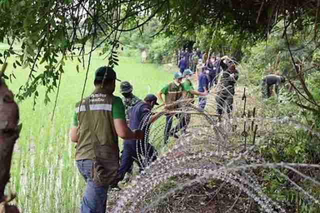 A military patrol searches for illegal migrants on the border with Cambodia.