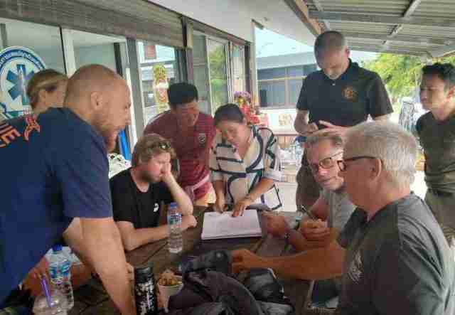 Foreign scuba diving instructors from Koh Tao plan Monday's dive plan in Koh Samui on Sunday.