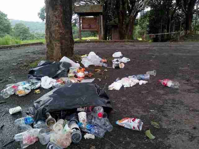 Trash left behind by campers at Khao Yai National Park.