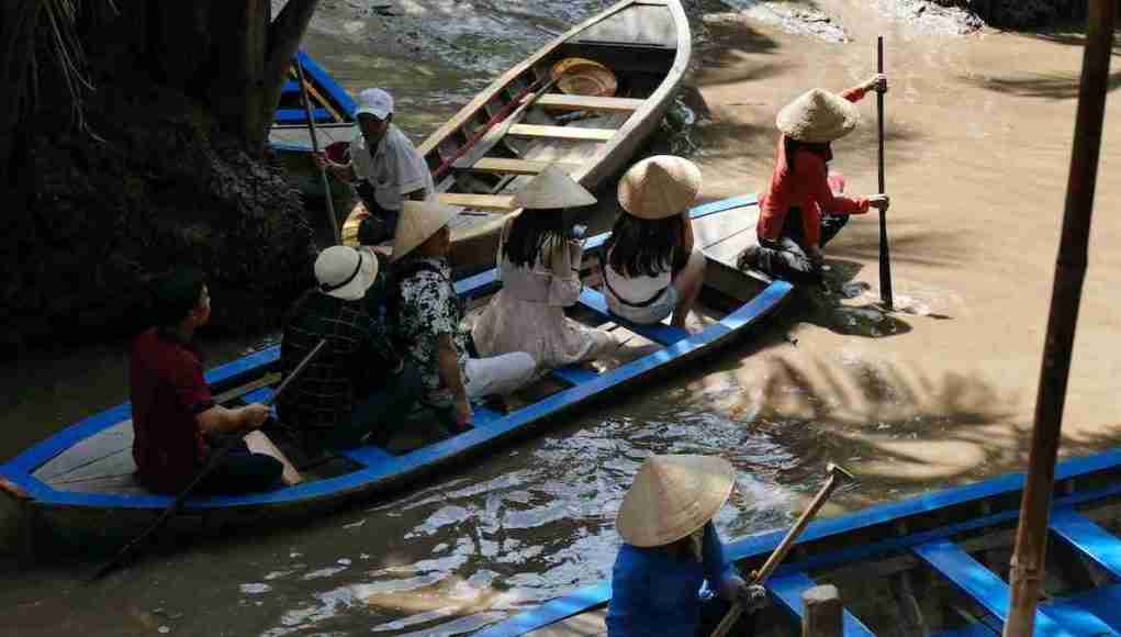 Low water in the Mekong River stretches through Thailand and into Vietnam.