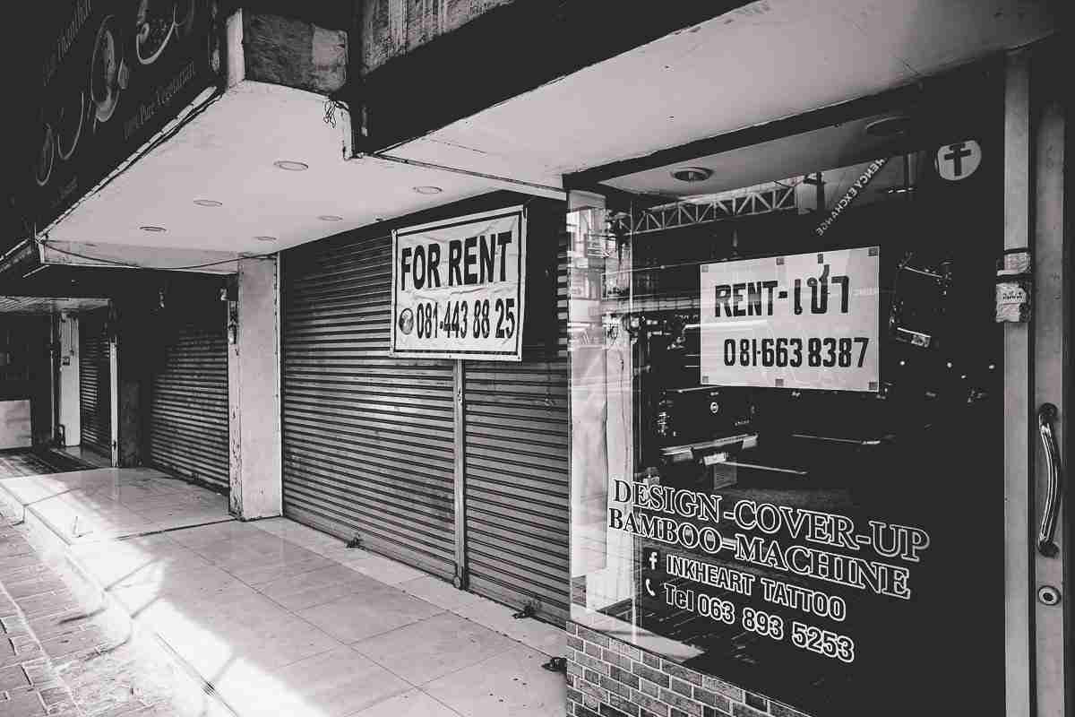 """Closed shutters and """"for sale"""" and """"for rent"""" signs now outnumber neon signs in Pattaya."""