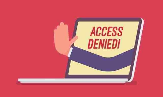 Access denied sign on laptop screen