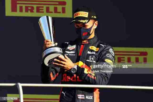 Third placed Alexander Albon of Thailand and Red Bull Racing celebrates on the podium during the F1 Grand Prix of Tuscany at Mugello Circuit on Sunday in Scarperia, Italy. (Photo: Mark Thompson/Getty Images)