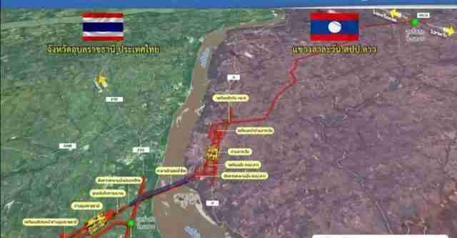 A map showing various bridges and other transport projects on the Thai-Laotian border.