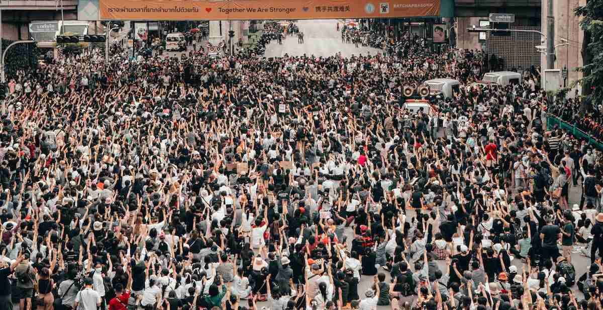 More than 10,000 people assembled at Bangkok's Ratchprasong intersection on Oct. 15 for the latest pro-democracy protest. (Photo: Tyler Roney for the Bangkok Herald)