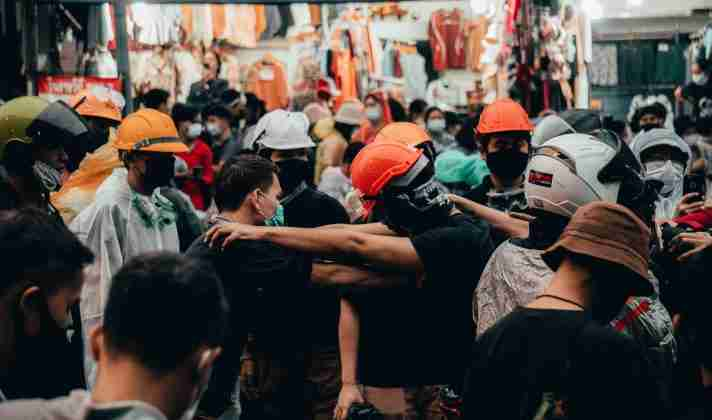 Scenes from the front lines of Thailand's pro-democracy student protests, Oct. 16, 2020 at Victory Monument (Photo: Tyler Roney for the Bangkok Herald)