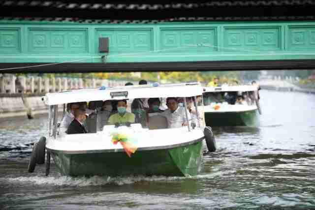 Krungthep Thanakom Co. tests its new electric boats on Monday in Bangkok.