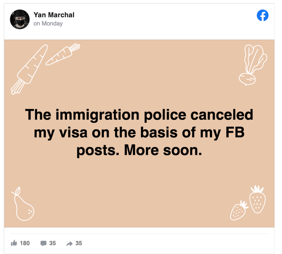 Facebook Yan Eric Marchal French Thailand Deported Visa Canceled Protest Democracy
