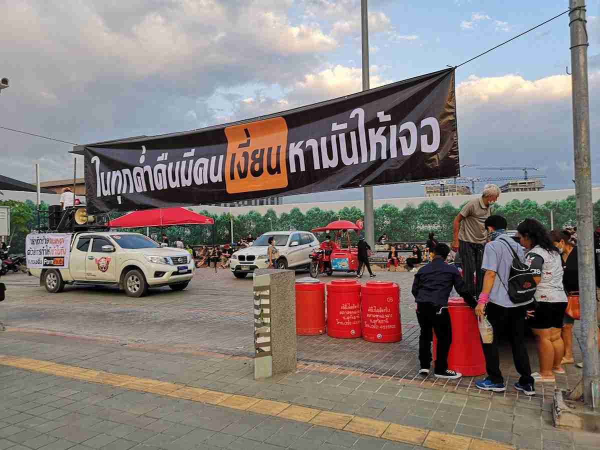 Protestors assemble outside the Ministry of Digital Economy and Society in North Bangkok Nov. 3 to protest the block of adult website PornHub.