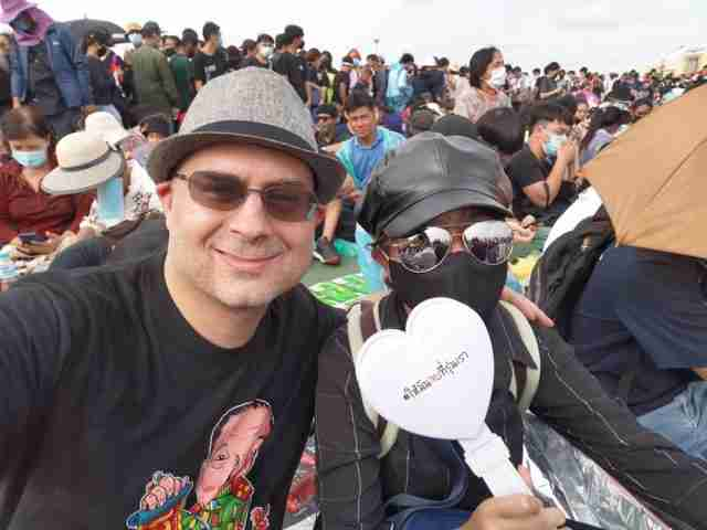 Yan Eric Marchal, 47, at the Sept. 19, 2020 pro-democracy protest in Bangkok. (Photo: Facebook)