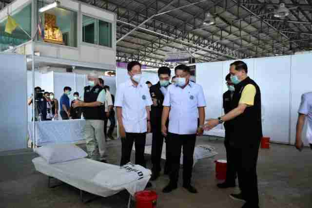 field hospital for migrant workers from Samut Sakhon's central seafood market is now ready for service.