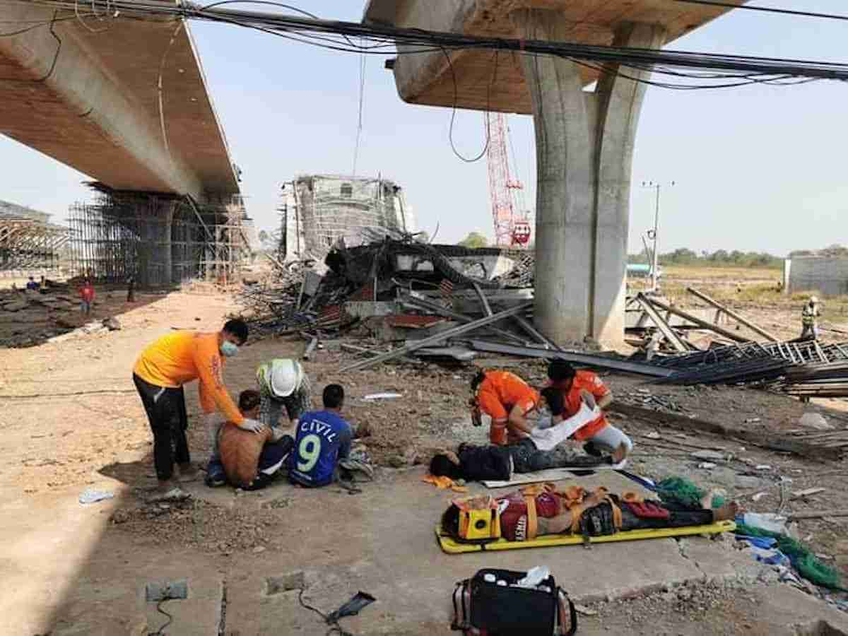 More than 10 construction workers were injured when an elevated section of a highway under construction in Nakhon Ratchasima collapsed Saturday.