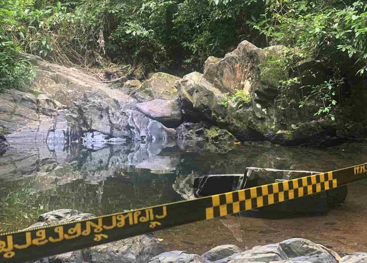 Police tape cordons off the area where a woman was found dead a day earlier at a secluded spot on the southern island of Phuket, Thailand, on Friday, Aug. 6, 2021. Thai authorities have ordered heightened security measures on the resort island of Phuket after the discovery of the body of a 57-year-old Swiss tourist amid signs of foul play.