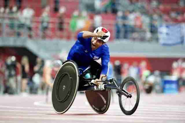 Pongsakorn Paeyo wins the Tokyo 2020 Paralympic Games Gold medal in the men's 400 metres T53 race in 46.61 seconds.